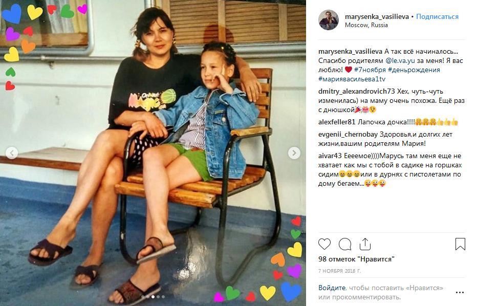 Мария Васильева в детстве с мамой